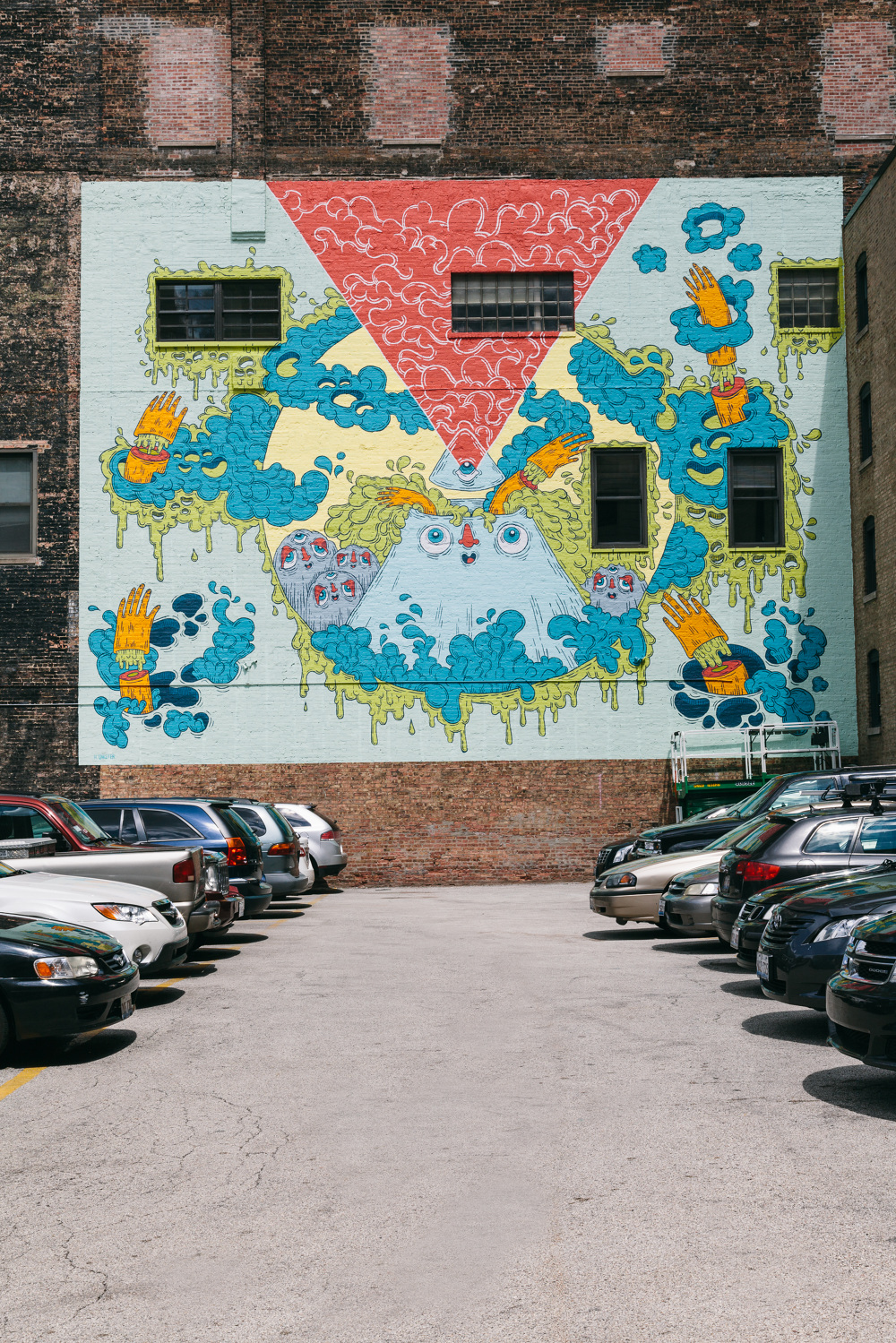 slime mountain mural heidi unkefer the mural is located in chicago s south loop on the 623 s wabash building at the corner of wabash and balbo